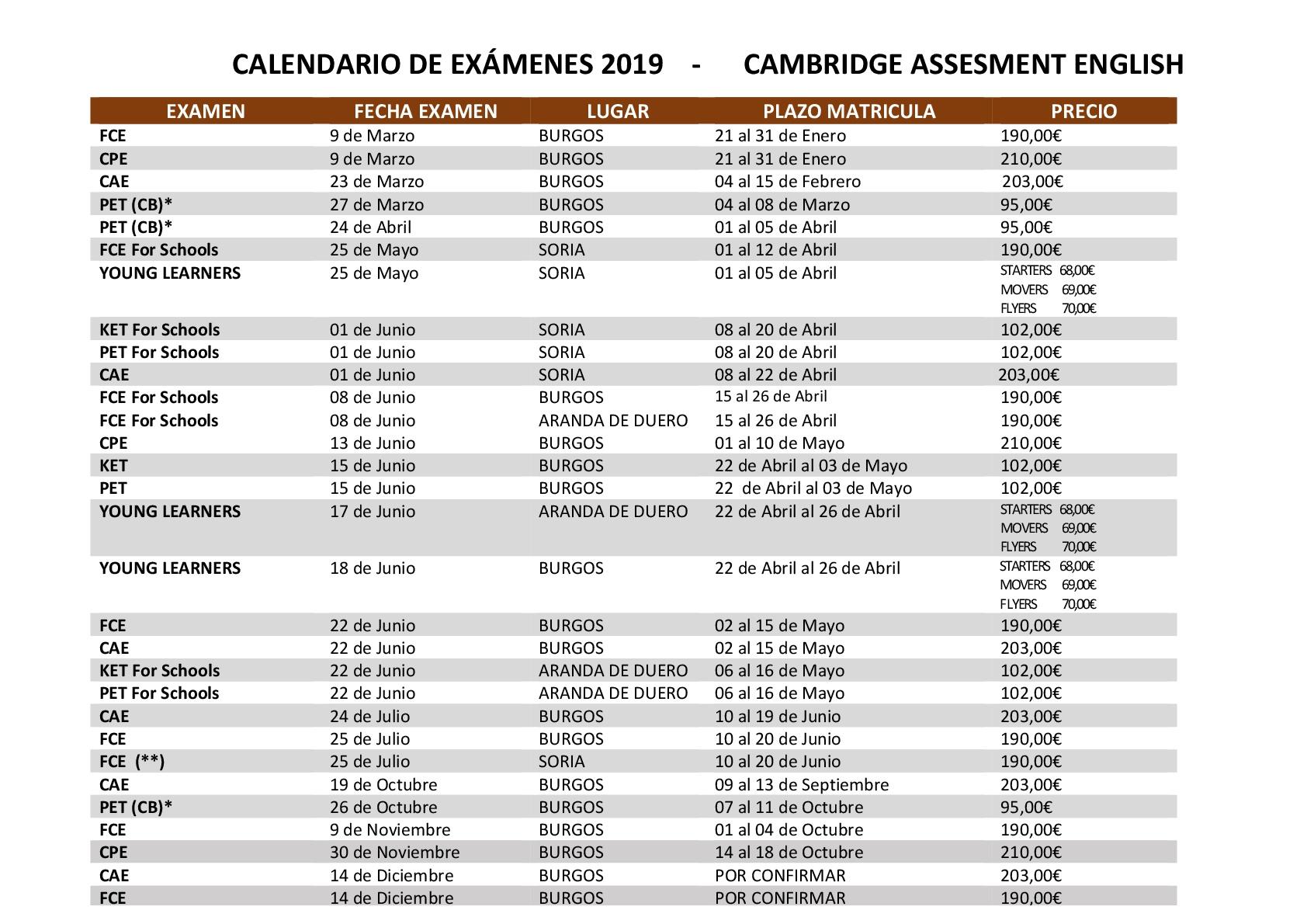 calendario cambridge