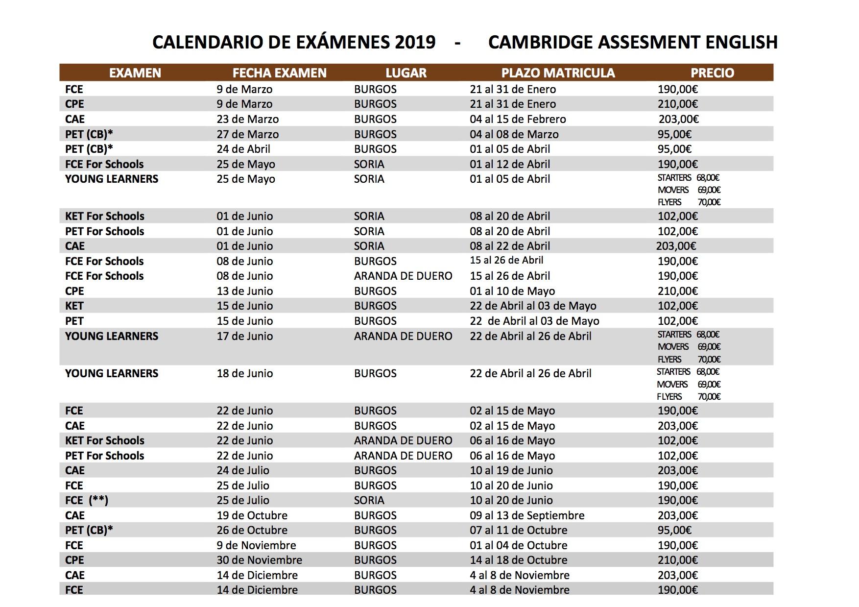 calendario cambridge 2019