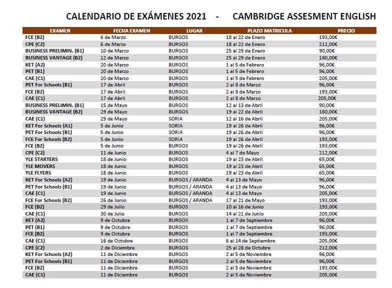Calendario Cambridge 2021